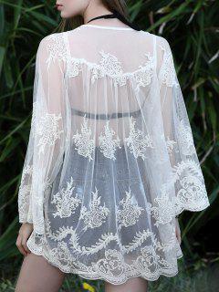 Open Front Crochet Lace Blouse - Off-white L