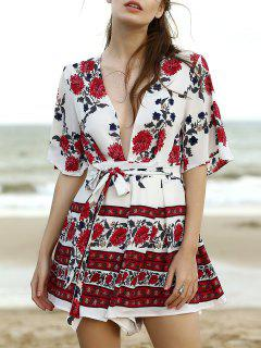 Plunging Neck Flare Sleeve Floral Romper - White L