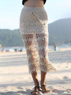Solid Color Cut Out High Waist Crochet Cover Up Skirt - Apricot