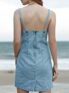 Mini Pinafore Denim Dress - Light Blue S