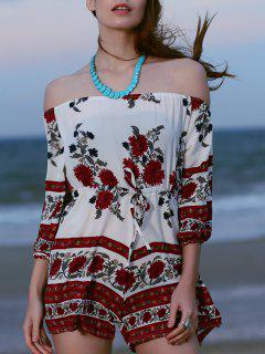 Slash Neck Printed Romper - White L