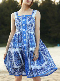 Fitting Floral Print Straps Sleeveless Dress - Blue S