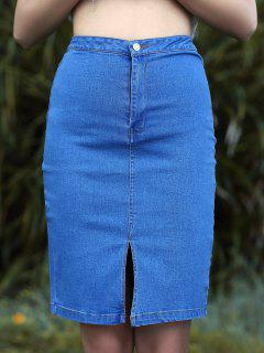 High Waisted Front Slit Denim Bodycon Skirt - Medium Blue S