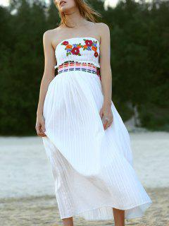 Floral Embroidery Strapless Maxi Dress - White L