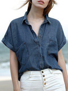 Pockets Shirt Collar Short Sleeve Chambray Shirt - Blue S