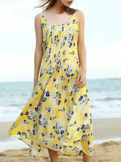 Vestido Plisado De La Correa De Midi - Amarillo S