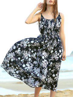 Pleated Midi Strap Dress - Black S