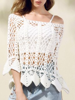 Solid Color Cut Out Round Neck Butterfly Sleeve Sweater - White