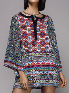 Large Sleeve Printed Peasant Top - S