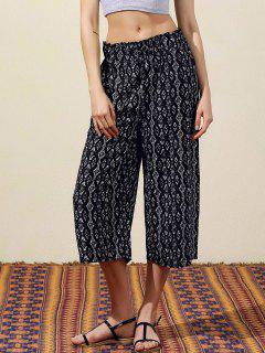 Géométrique Imprimer Pantalon Large Leg Capri - Noir L