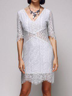 V-Neck Bodycon Lace Dress - Light Gray M