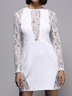 White Lace Spliced ​​robe Col Rond Manches Longues - Blanc S