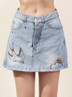 Embroidery Bleach Wash Denim Mini Skirt - Light Blue S