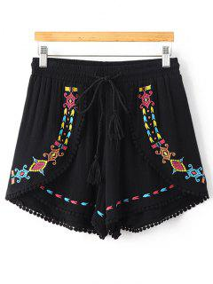 Ethnic Embroidery High Waisted Shorts - Black S