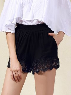 Lace Trim Black Shorts - Black S