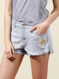 Embroidered Frayed Denim Shorts - Light Blue S