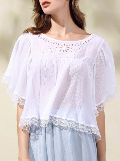 Hollow Out Scoop Neck Batwing Sleeve T-Shirt - White M