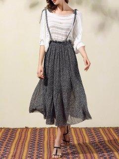 Back Criss-Cross Printed Suspender Skirt - Black L