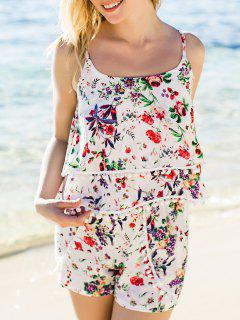 Floral Print Layered Cami Top And Shorts Twinset - Red S