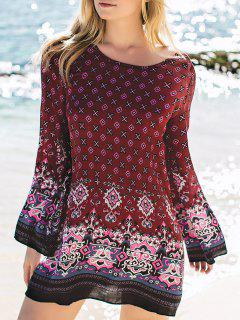 Stylish Long Sleeve Printed Peasant Dress - Red S