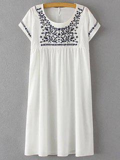 Vestido De Manga Corta Con Cuello Redondo Bordado Floral - Blanco M