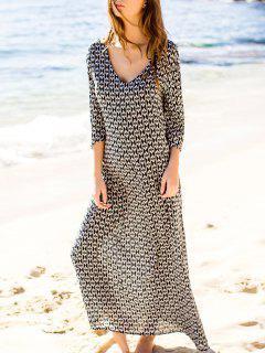 Rhombus Printed Split Sleeve Floor-Length Dress - White And Black M