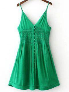 Cami Verde Vestido Empalmado De Encaje - Verde S