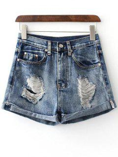 Hole Hemming Denim Shorts - Deep Blue S