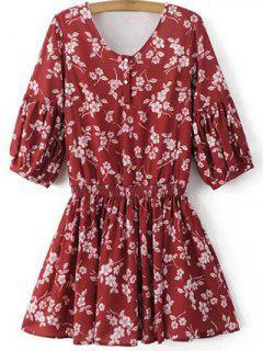 Floral V Neck Half Sleeve Dress - Red S