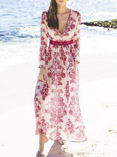 V Neck Flower Print Long Dress - Red With White Xl