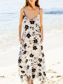 Low Cut Print Maxi Strap Dress - White