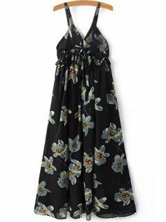 Floral Print Cami A-Line Dress - Black M