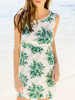 Flower Printed Waisted Mini Dress - Green S