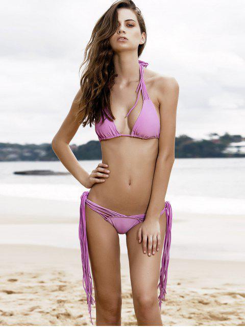fancy Purple String Bikini Set - PURPLE XL Mobile