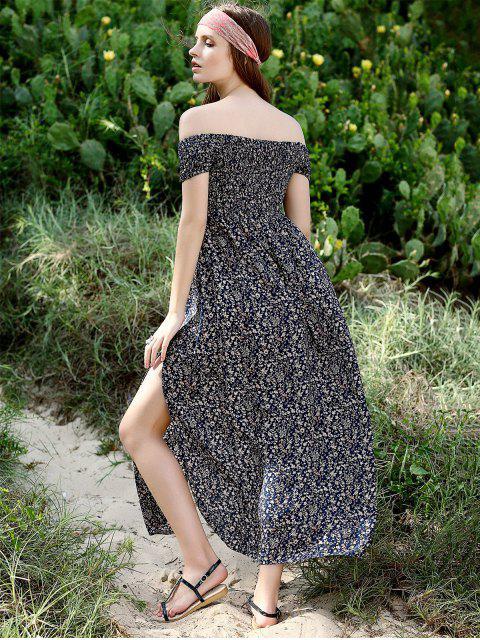 outfit Slit Off The Shoulder Short Sleeve Maxi Dress - PURPLISH BLUE M Mobile