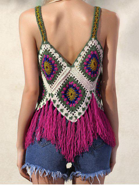 trendy Crochet Tassels Cami Tank Top - RED ONE SIZE Mobile