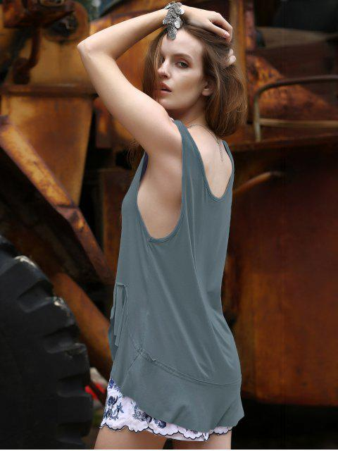 affordable Loose Solid Color Flounce Ruffles Scoop Neck Tank Top - BLUE GRAY S Mobile