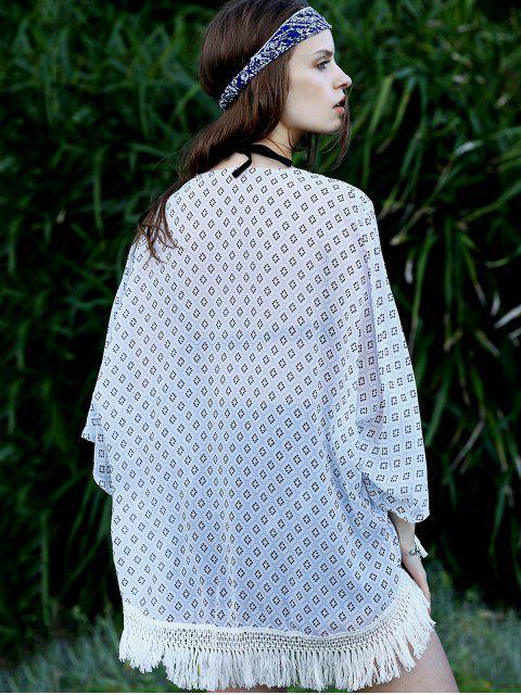Chemisier en Kimono à manches 3/4 à carreaux Argyle - Multicolore XL Mobile