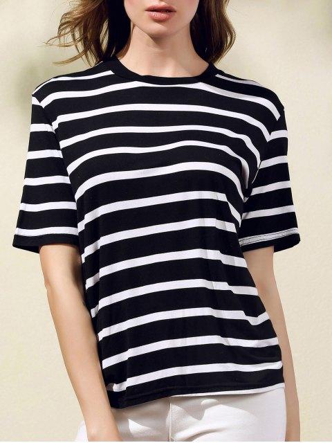 Streifen drucken Rundhals Kurzarm T-Shirt - Schwarz S Mobile