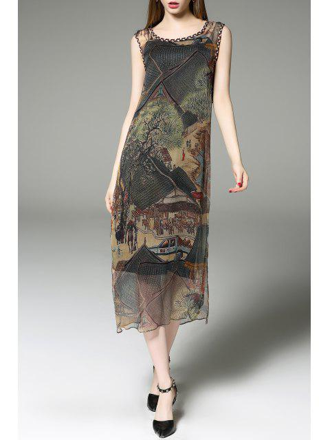 hot Printed Midi Vintage Dress with Tank Top - COLORMIX XL Mobile