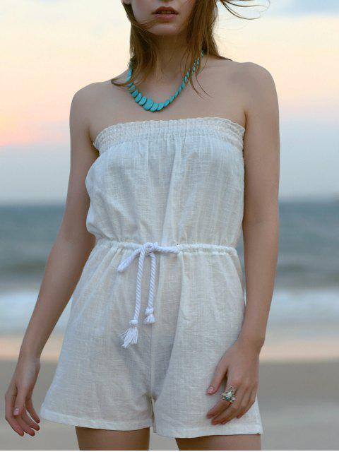 women Drawstring Strapless White Romper - WHITE L Mobile