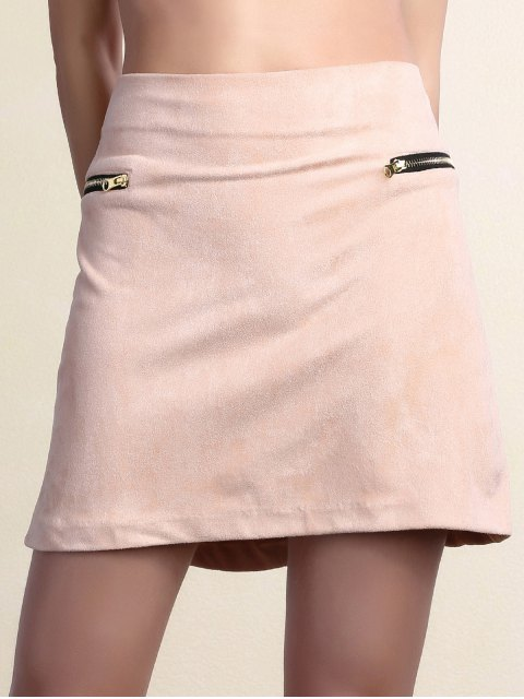outfits Suede Zipper Embellished Mini Skirt - PINK L Mobile