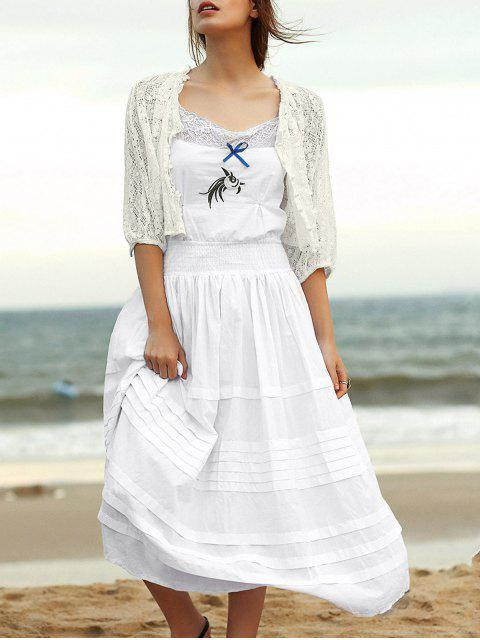 buy Embroidered Cami Ethnic Dress + Lace Blouse Twinset - WHITE S Mobile