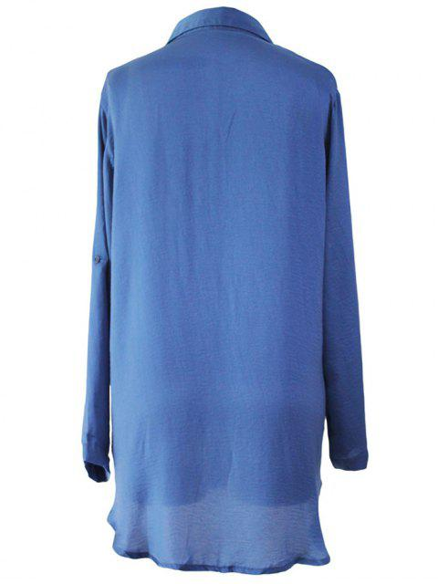 womens Shirt Collar Solid Color Long Sleeve Shirt Dress - BLUE ONE SIZE(FIT SIZE XS TO M) Mobile