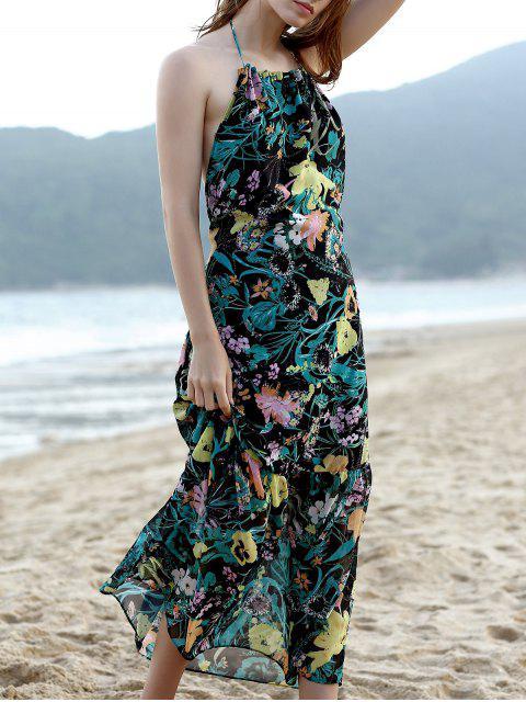 Vestido de Tirante Fino sin Manga con Estampado de Flores sin Espalda de Hawai - Verde M Mobile
