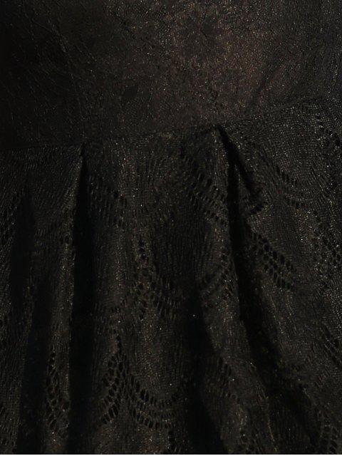 Robe évasée col rond en dentelle complete sans manche - Noir L Mobile