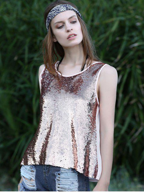 fashion Sequin Spliced Cut Out Round Neck Tank Top - PINK S Mobile