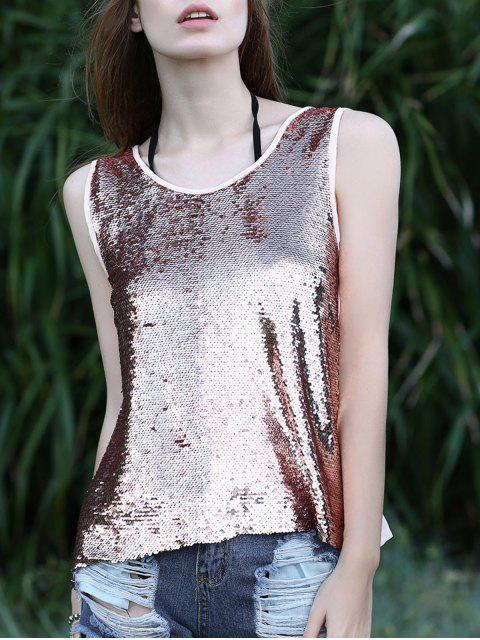 Sequin Spliced ​​Ausschnitte Round Neck Tank Top - Rosa L Mobile