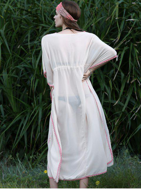 trendy Drawstring V-Neck Batwing Sleeve Cover Up - WHITE ONE SIZE Mobile