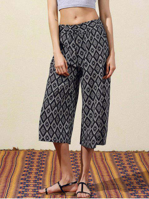 womens Argyle Print Wide Leg Capri Pants - BLACK L Mobile